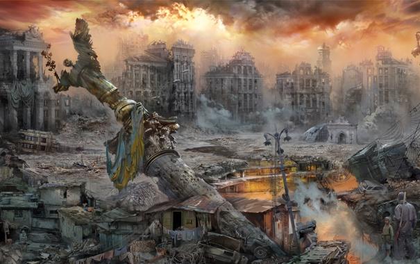 Фото обои город, люди, арт, постапокалипсис, Майдан, Из Прошлого — в Будущее