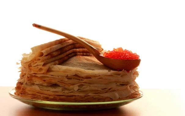 Фото обои еда, блины, икра