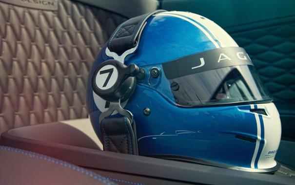 Фото обои Concept, синий, Jaguar, шлем, race, гоночный, сиденье