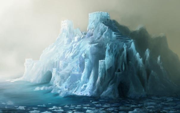 Фото обои холод, лед, море, город, ледник, арт, арки