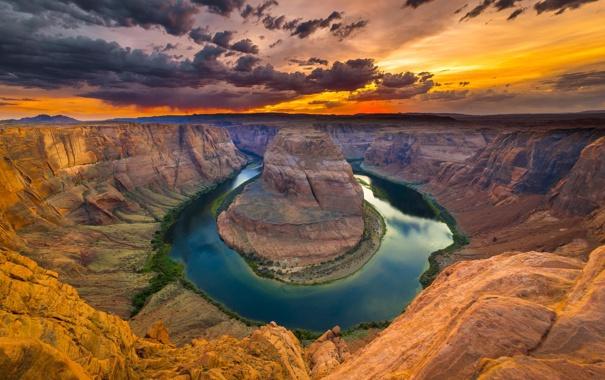 Фото обои природа, река, каньон, arizona, red dessert, colorado river, Horse shoe bend