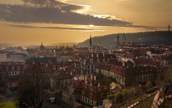 Фото обои город, утро, Praga