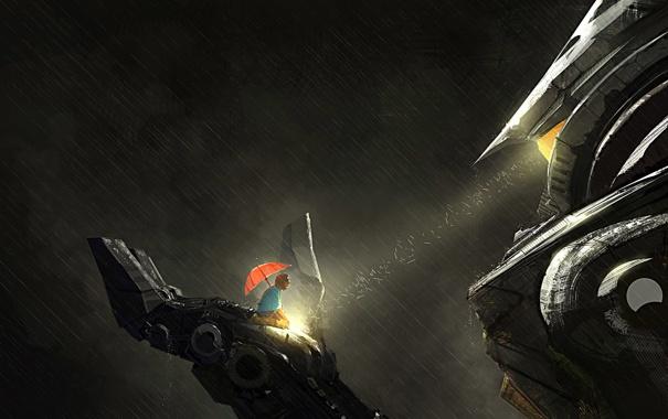 Фото обои дождь, человек, робот, зонт, арт, гигантский, pacific rim