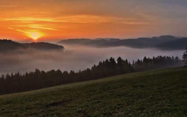 Фото обои закат, горы, туман, панорама
