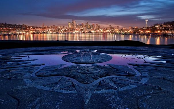 Фото обои море, закат, огни, Сиэтл, США