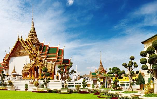 Фото обои деревья, здание, храм, тайланд