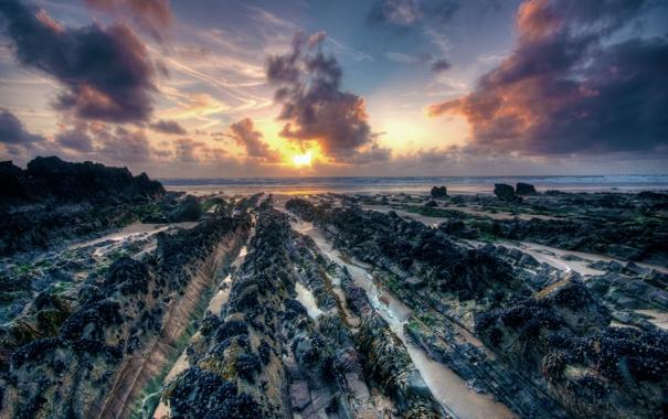 Фото обои beach, sea, sunset, stones
