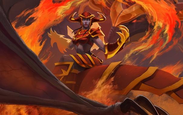 Фото обои fire, League of Legends, Shyvana, the half dragon