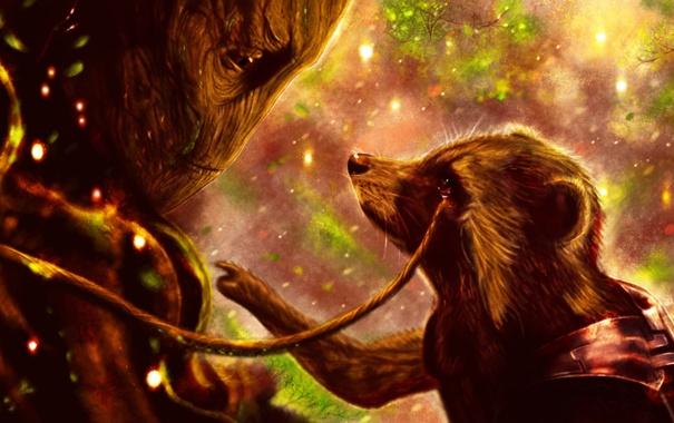 Фото обои Rocket, raccoon, Guardians of the Galaxy, Rocket Raccoon, groot