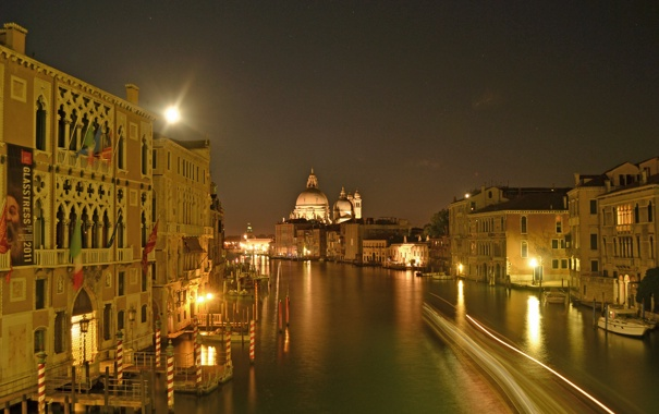 Фото обои небо, Венеция, ночь, канал, собор, огни, дома