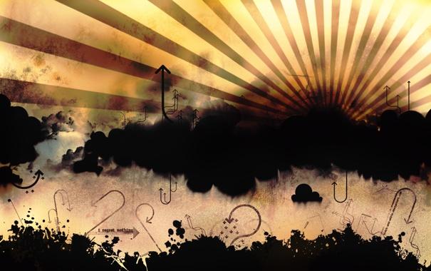Фото обои небо, полосы, стрелки, Вектор, направление, указатели