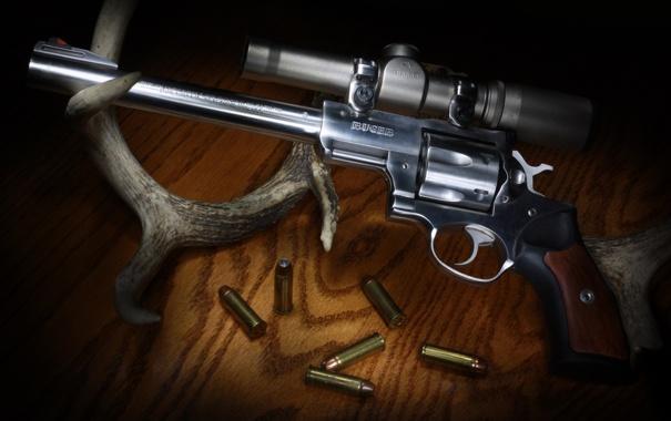 Фото обои оружие, оптика, ствол, рога, патроны, револьвер, Ruger