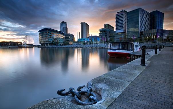 Фото обои пристань, река, ночь, город