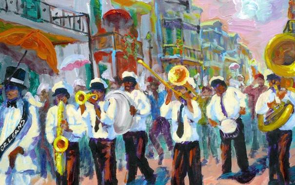Фото обои город, улица, картина, США, карнавал, музыканты, оркестр