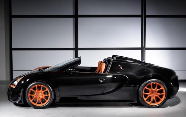 Фото обои Roadster, Bugatti, Veyron, суперкар, родстер, вид сбоку, Grand Sport