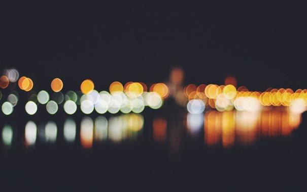 Фото обои ночь, отражение, фары, цветов