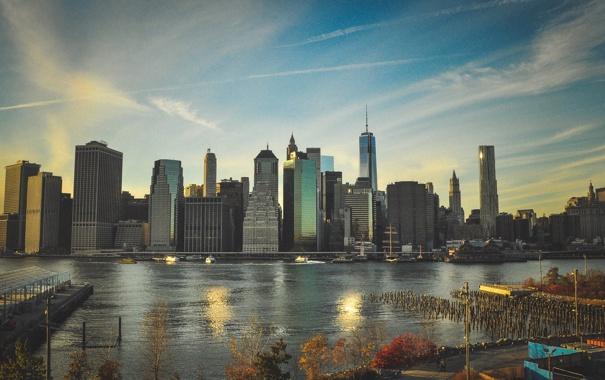 Фото обои река, Город, небоскрёбы