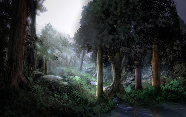 Фото обои лес, вода, деревья, ручей, камни, чаща, арт
