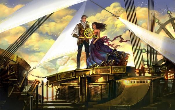 Фото обои небо, девушка, облака, птицы, корабль, арт, парень