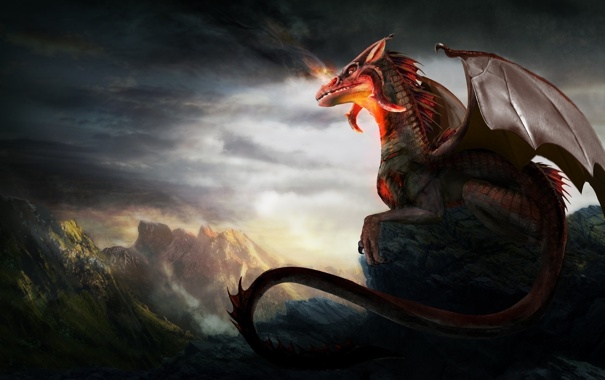 Фото обои горы, огонь, дракон, фэнтези, арт