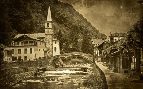Фото обои мост, река, черно-белое
