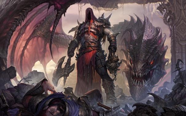 Фото обои фантастика, дракон, корона, демон, арт, топор, король