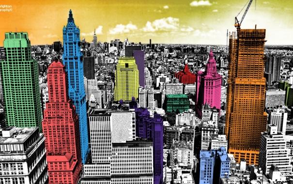 Фото обои город, небоскребы, нью-йорк