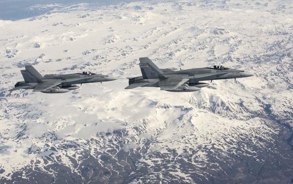 Фото обои пейзаж, истребители, полёт, Hornet, CF-18
