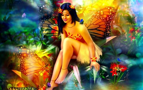 Фото обои фантастика, сидит, бабочки, девушка, вода, отражение, природа