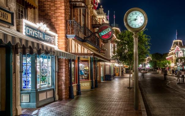 Фото обои ночь, город, улица, часы, USA, ночной город, California