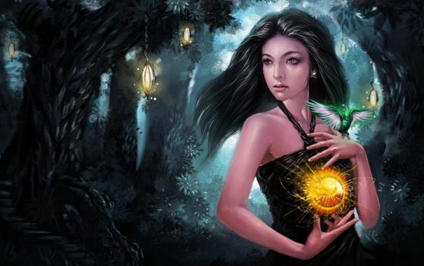 Фото обои fire, forest, magic, woman, lights ball