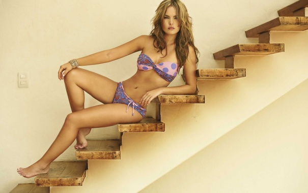 Фото обои модель, лестница, ступени, бикини, Melissa Giraldo