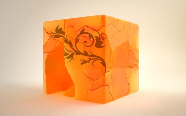 Фото обои кубик, оранж, крошеный, Cubic