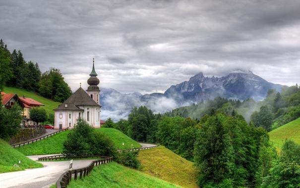 Фото обои деревья, пейзаж, горы, природа, фото, дороги, Германия