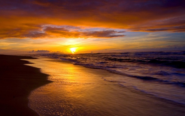 Фото обои пляж, лето, пейзаж, закат