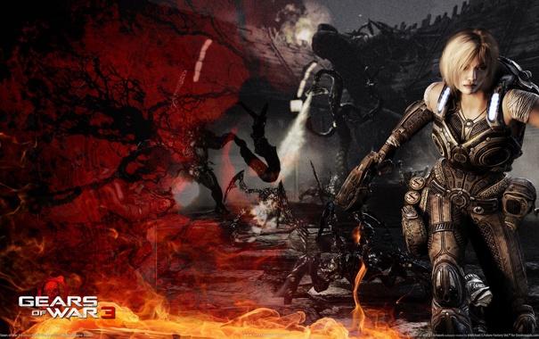 Фото обои девушка, красный, оружие, огонь, чёрный, блондинка, кулон