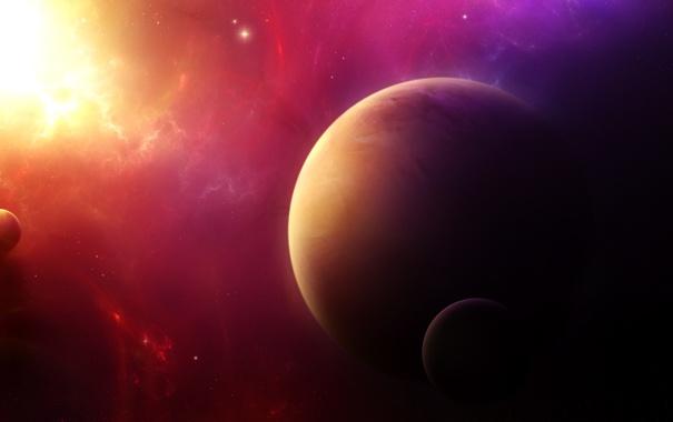 Фото обои звезды, пространство, планеты, свечение, спутники