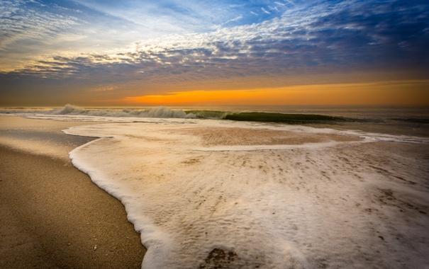 Фото обои море, закат, волна