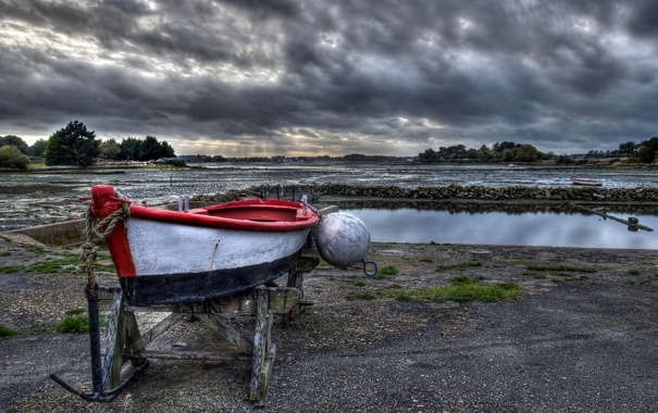 Фото обои пейзаж, лодка, France, Brittany, Ste.-Hélène