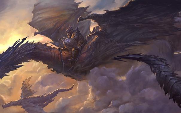 Фото обои полет, драконы, фэнтези, арт, всадник, в небе, доспех