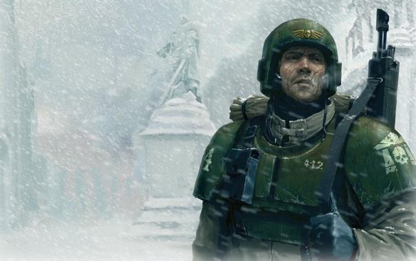 Фото обои игра, Warhammer, 40k, DoW, Имперская гвардия, Winter Assault