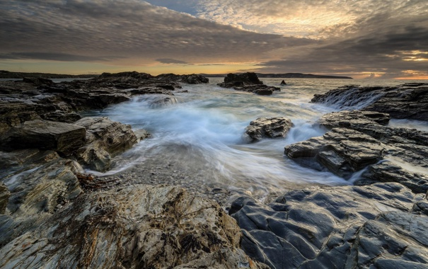 Фото обои море, облака, природа, камни