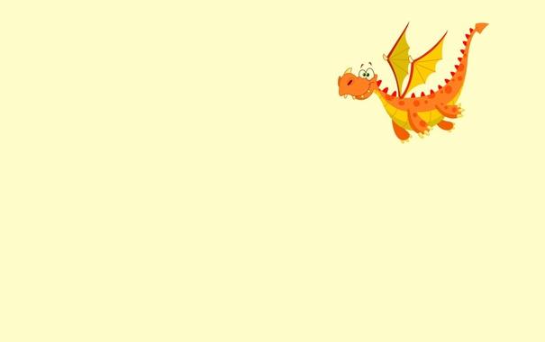Фото обои летит, оранжевый, крылья, Dragon, дракон, минимализм