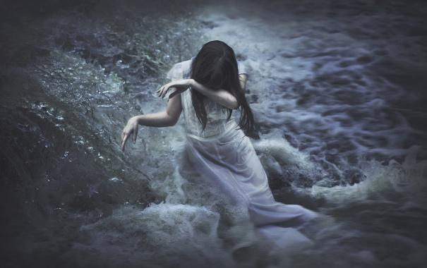 Фото обои вода, девушка, река