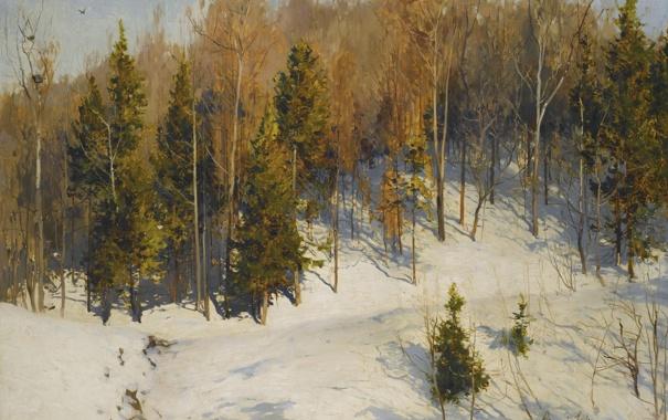 Фото обои зима, лес, снег, пейзаж, елки, картина, склон