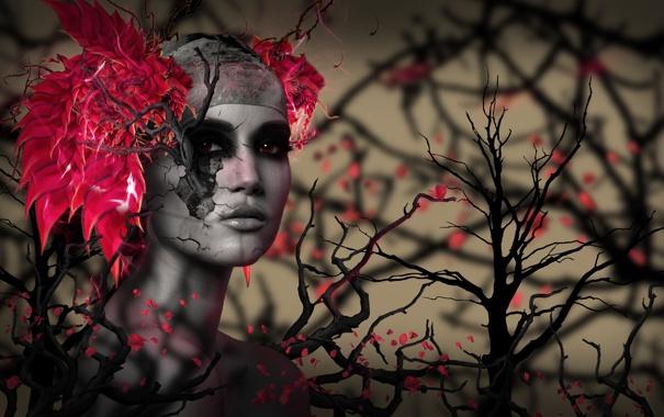 Фото обои розы, Девушка, Красные глаза, ветки деревьев