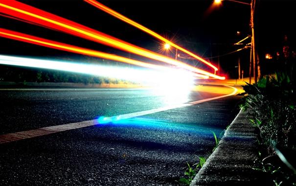Фото обои дорога, огни, фонари, след от фар