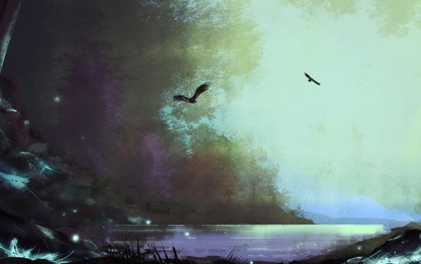 Фото обои птицы, ночь, река, светлячки, нарисованный пейзаж