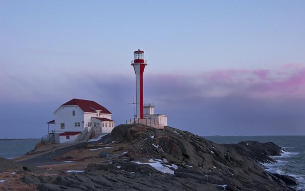 Фото обои море, рассвет, маяк, мыс