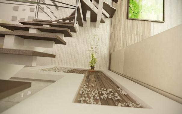 Фото обои комната, растение, арт, лестница, ступеньки, рендер, декор